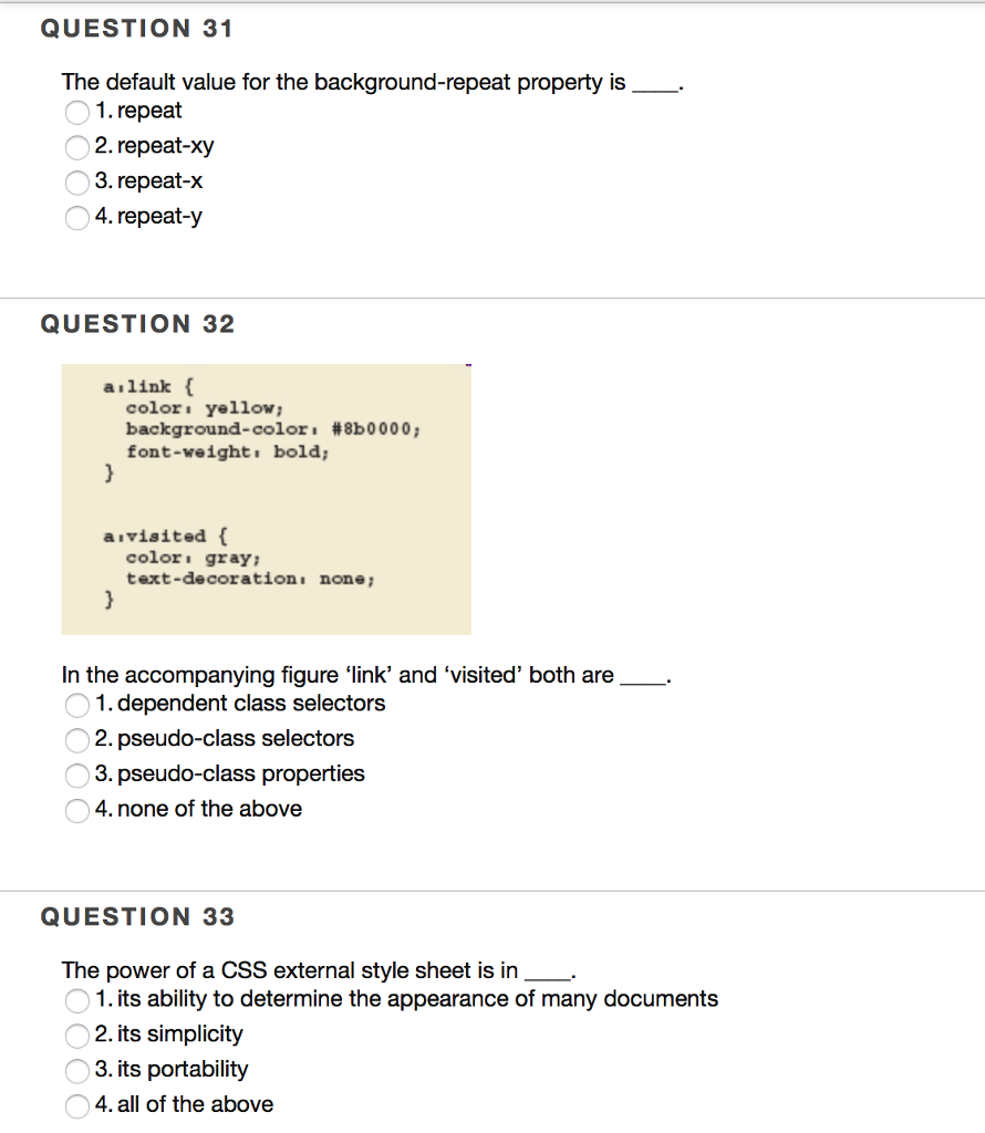 Background image external css - Question 31 The Default Value For The Background Repeat Property Is 1 Repeat 2
