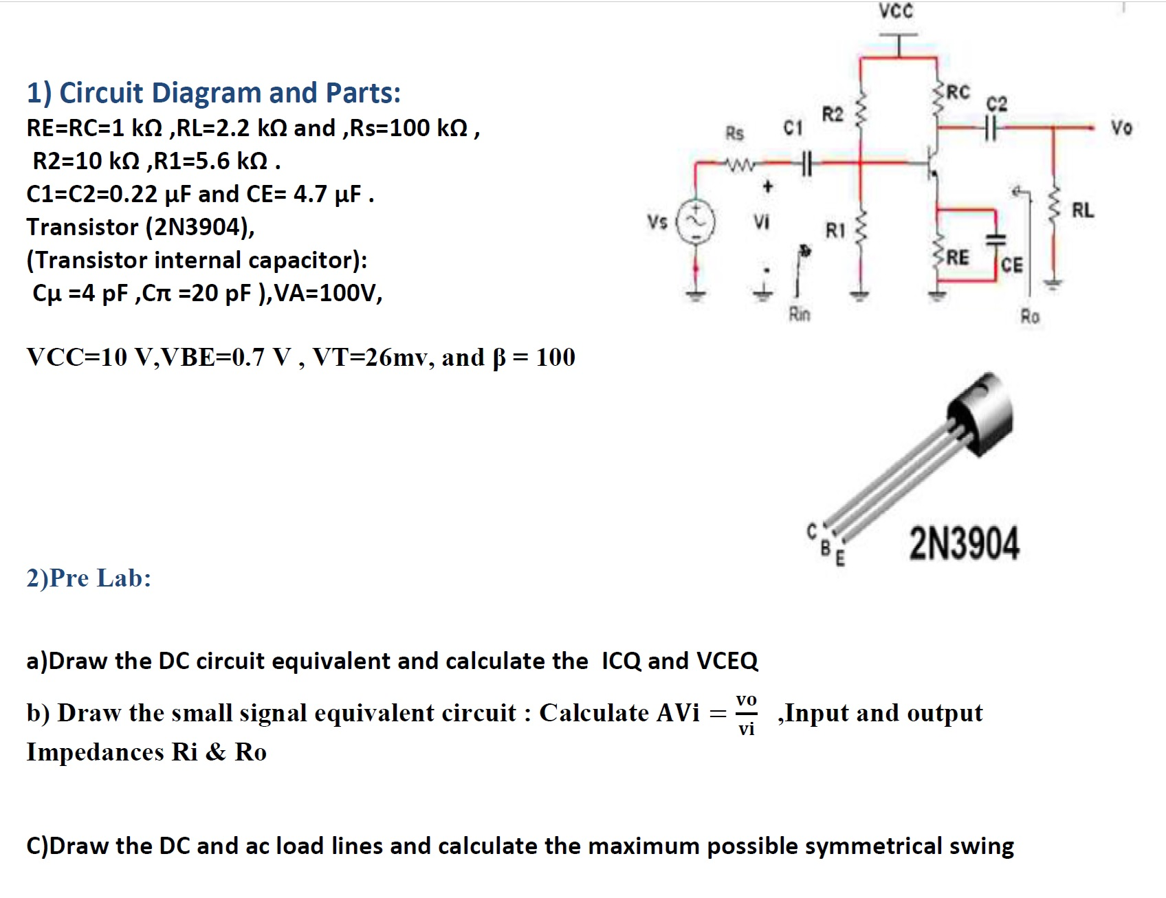 Solved Rerc1 K Ohmrl22 Ohm Andrs100 Rs R2 Dc Circuit Calculations Andrs