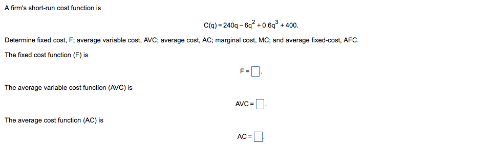 average and marginal cost functions