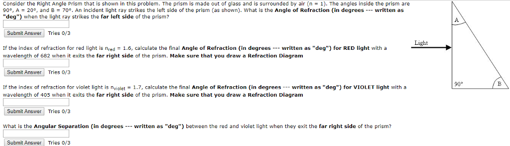 Solved Consider The Right Angle Prism That Is Shown In Th