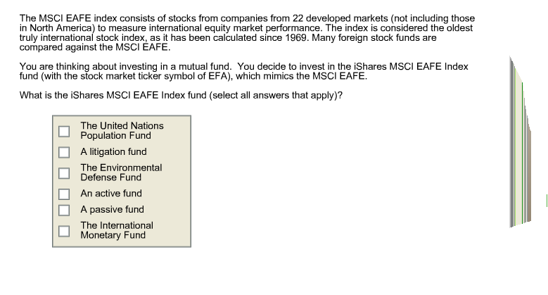 Solved The Msci Eafe Index Consists Of Stocks From Compan