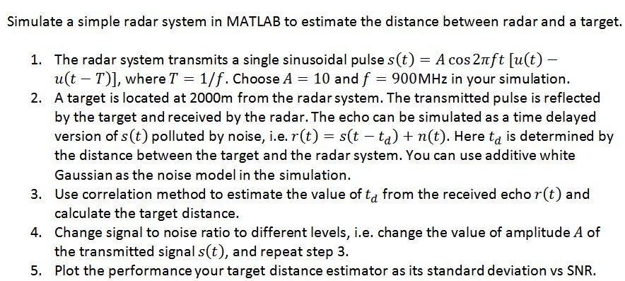 Simulate A Simple Radar System In MATLAB To Estima