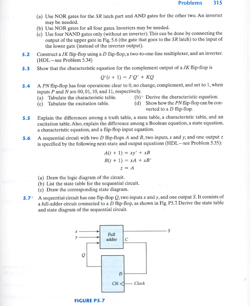 Solved Problems 315 A Use Nor Gates For The Sr Latch Pa Logic Diagram Of Full Adder Part And