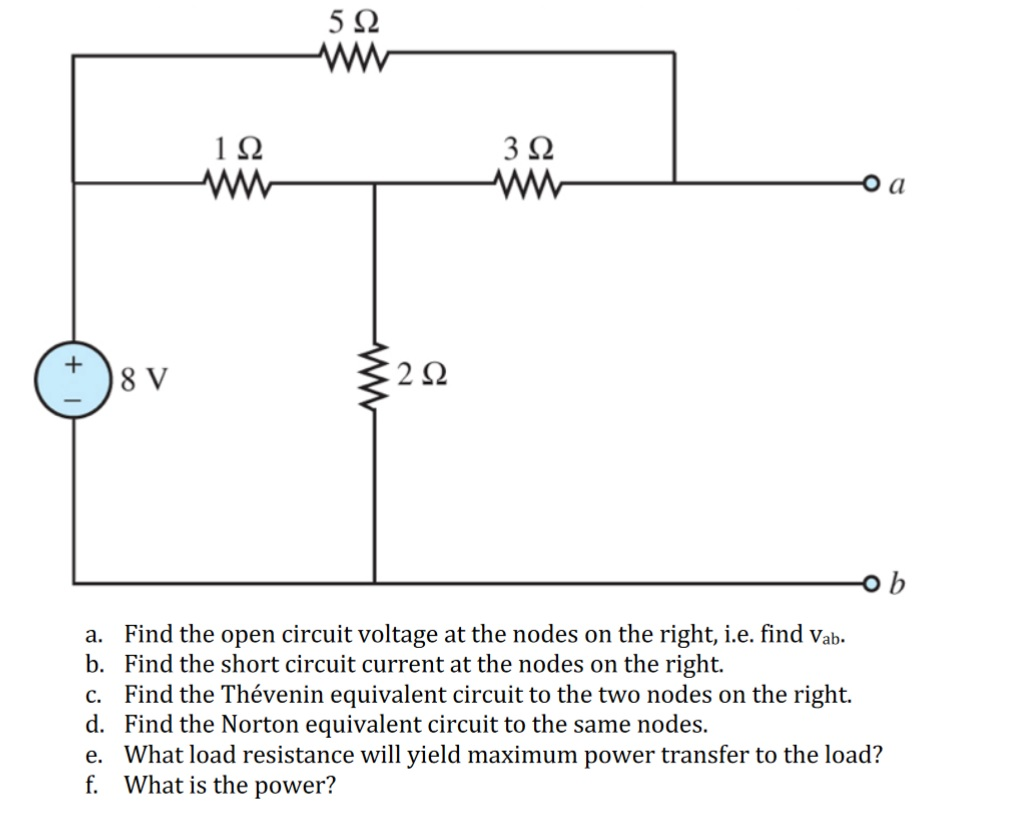 Solved A Find The Open Circuit Voltage At Nodes On T Short