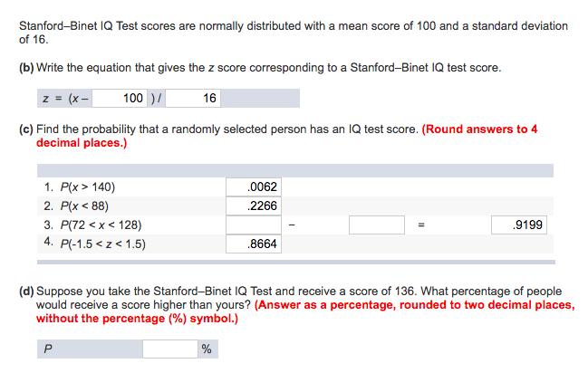 Understanding Iq Test Scores >> Solved Stanford Binet Iq Test Scores Are Normally Distrib