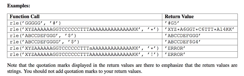 PYTHON Part I: Run-length Encoding (5 Points) Run