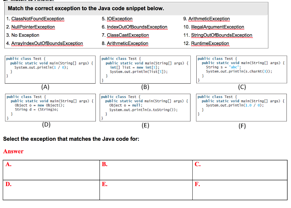 Solved Match The Correct Exception To The Java Code Snipp