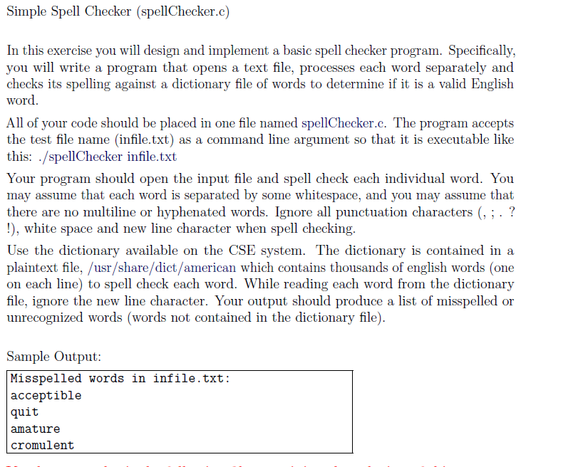 Solved: Simple Spell Checker (spellChecker.c) In This Exer ...