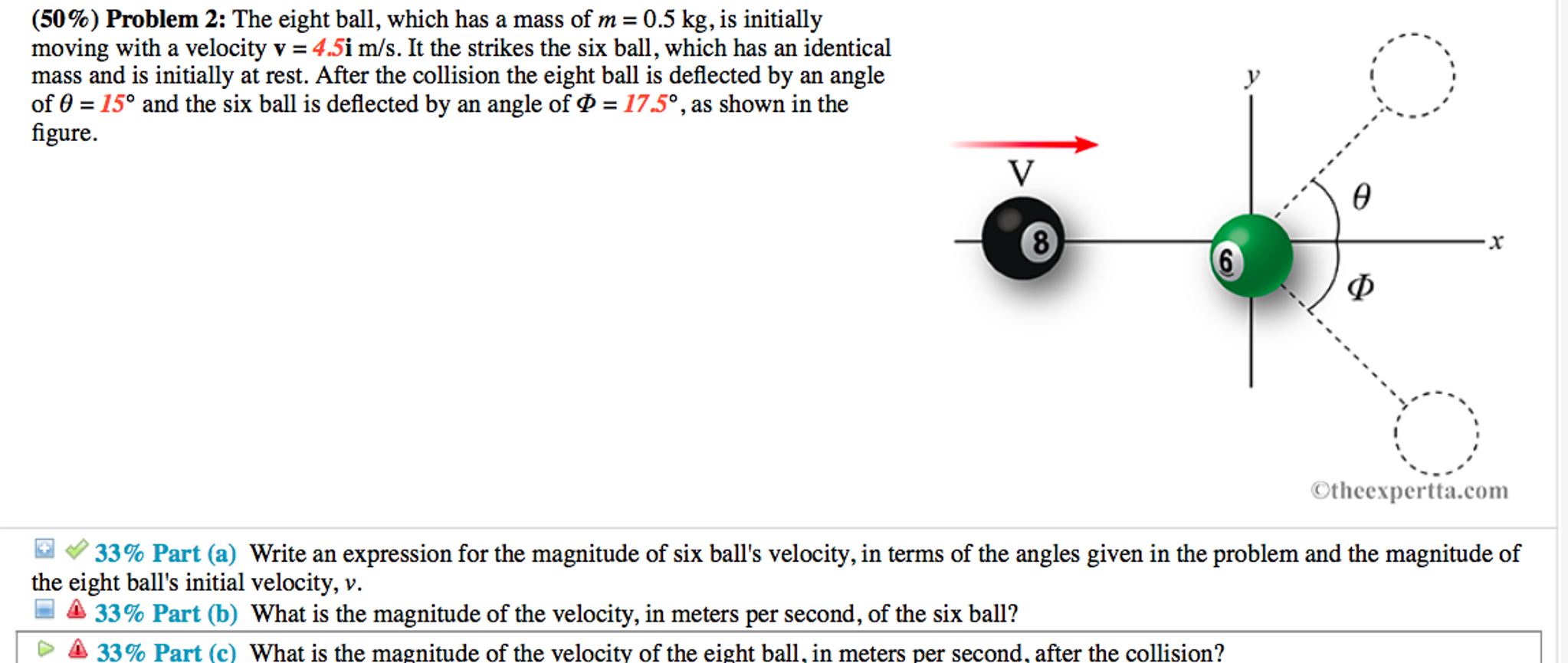 Solved: (50%) Problem 2: The Eight Ball, Which Has A Mass