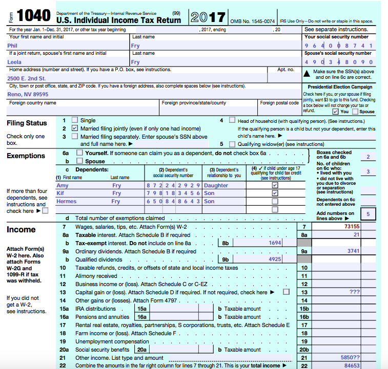 Can Someone Help Me Complete A Form 1040 And Form Chegg