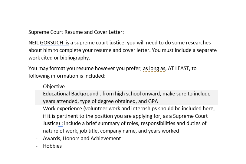 solved  supreme court resume and cover letter  neil gorsuc