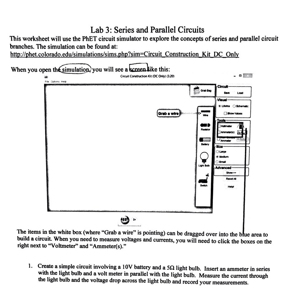 Solved This Worksheet Will Use The Phet Circuit Simulator How To Make A Simple Question Explore Concepts Of Series And Parallel