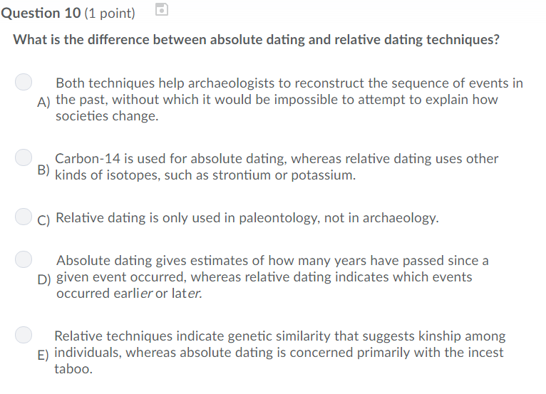 distinguish between absolute and relative dating