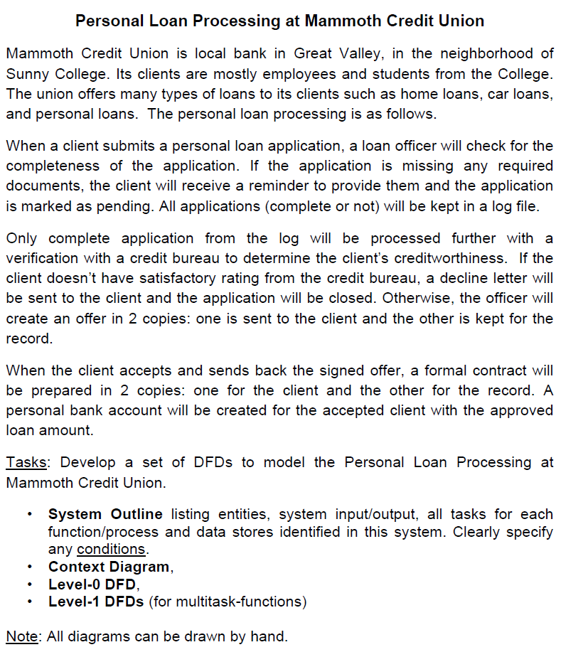 Solved i need to create a context diagram and level 1 dfd personal loan processing at mammoth credit union mammoth credit union is local bank in great valley ccuart Image collections