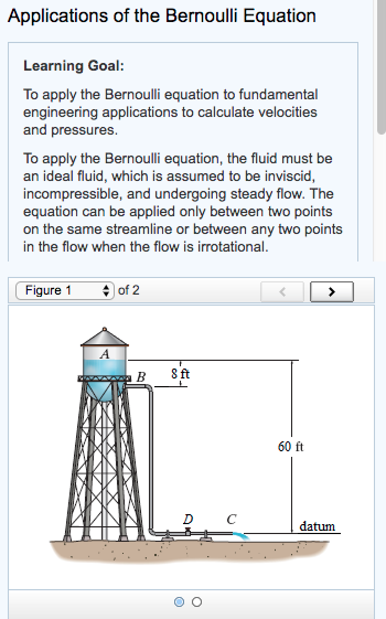 Solved: Learning Goal: To Apply The Bernoulli Equation To