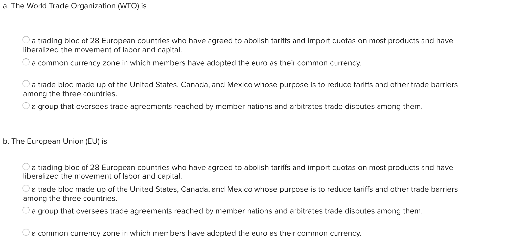 Solved A The World Trade Organization Wto Is A Trading