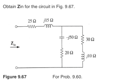 Obtain Zin for the circuit in Fig. 9.67.