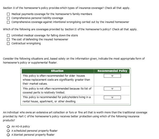 Solved: 3. The Form And Format Of The Homeowner's Insuranc ...