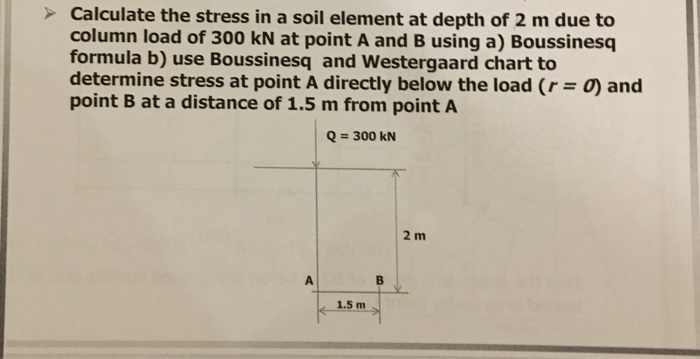 Solved: Calculate The Stress In A Soil Element At Depth Of