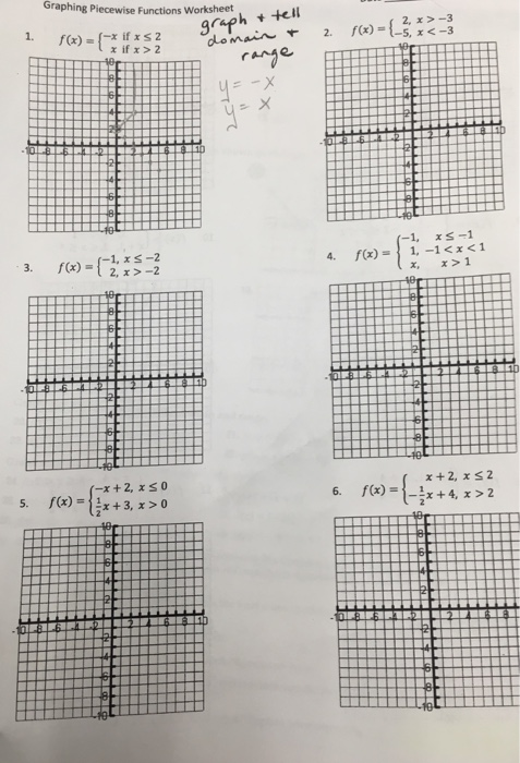 Solved: Graphing Piecewise Functions Worksheet F(x) = {x I ...
