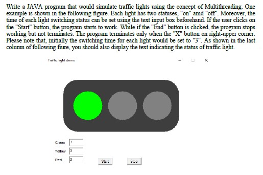 Solved: Write A JAVA Program That Would Simulate Traffic L