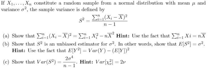 Solved If X  XN Constitute A Random Sample From A