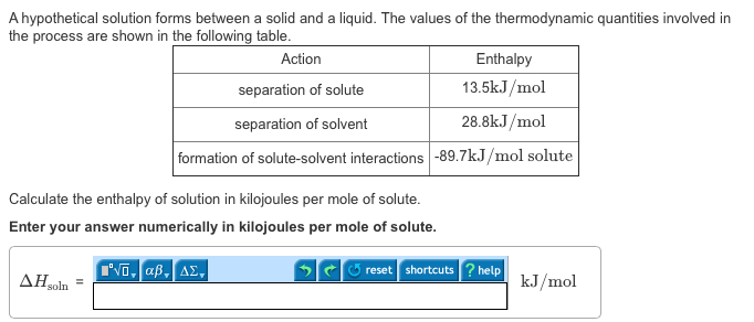 Solved: A Hypothetical Solution Forms Between A Solid And