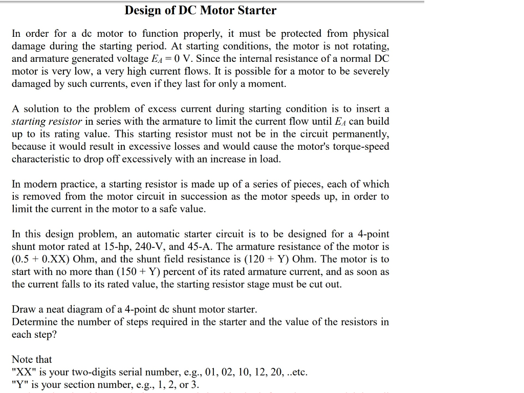 Solved Design Of Dc Motor Starter In Order For A Building The Simple Circuit To Function Properly It
