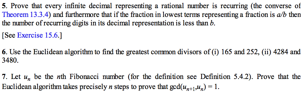 Prove That Every Infinite Decimal Representing A Rational Number Is  Recurring (the Converse