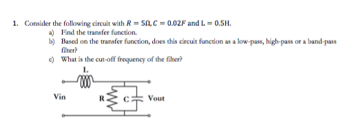 Consider the following circuit with R =5Ohm,C = 0.