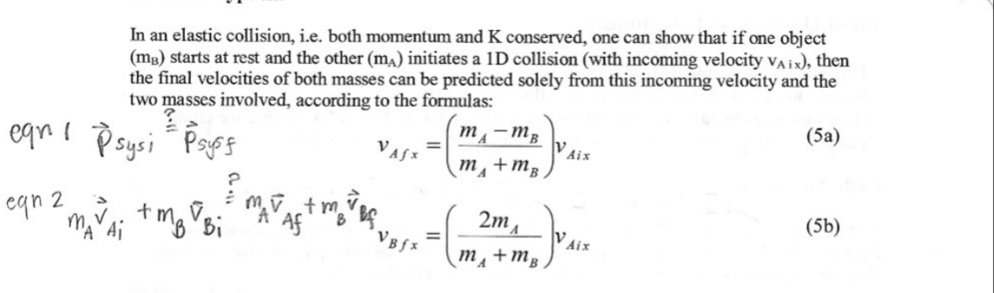 Solved Help With Physics Homework About Collision Equatio
