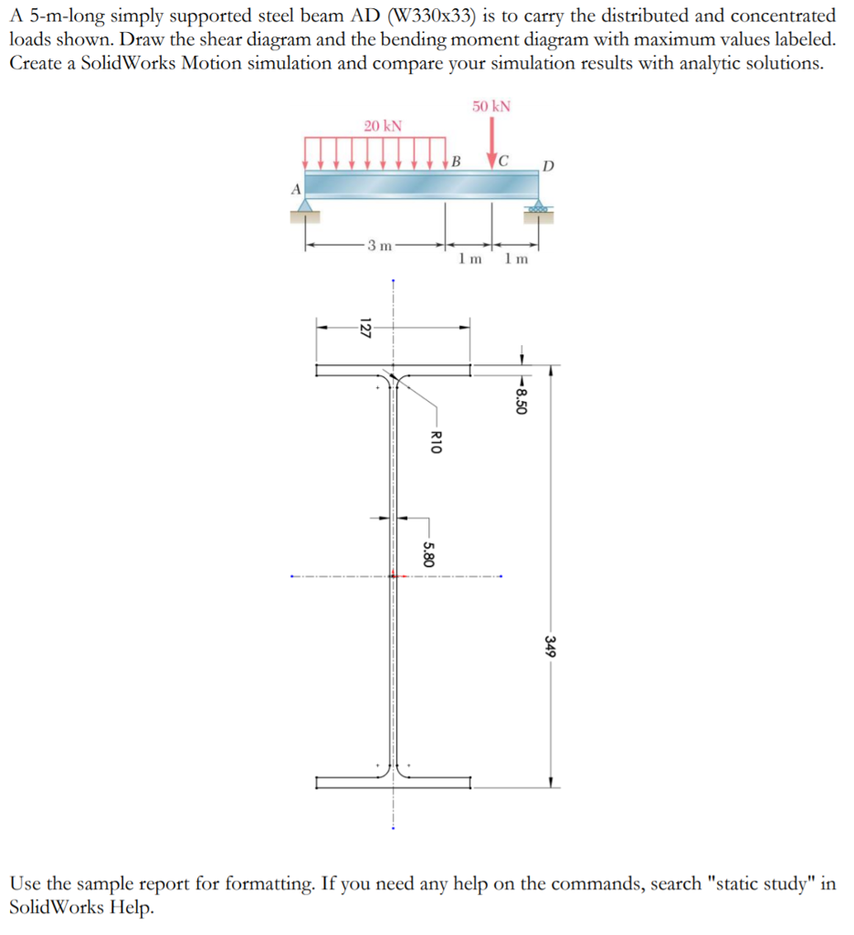 A 5 M Long Simply Supported Steel Beam Ad W 330x33 Shear Diagram Distributed Load Is To