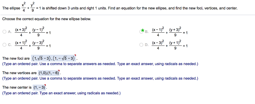 19f5baa6a13 The ellipse491 is shifted down 3 units and right 1 units. Find an equation  for
