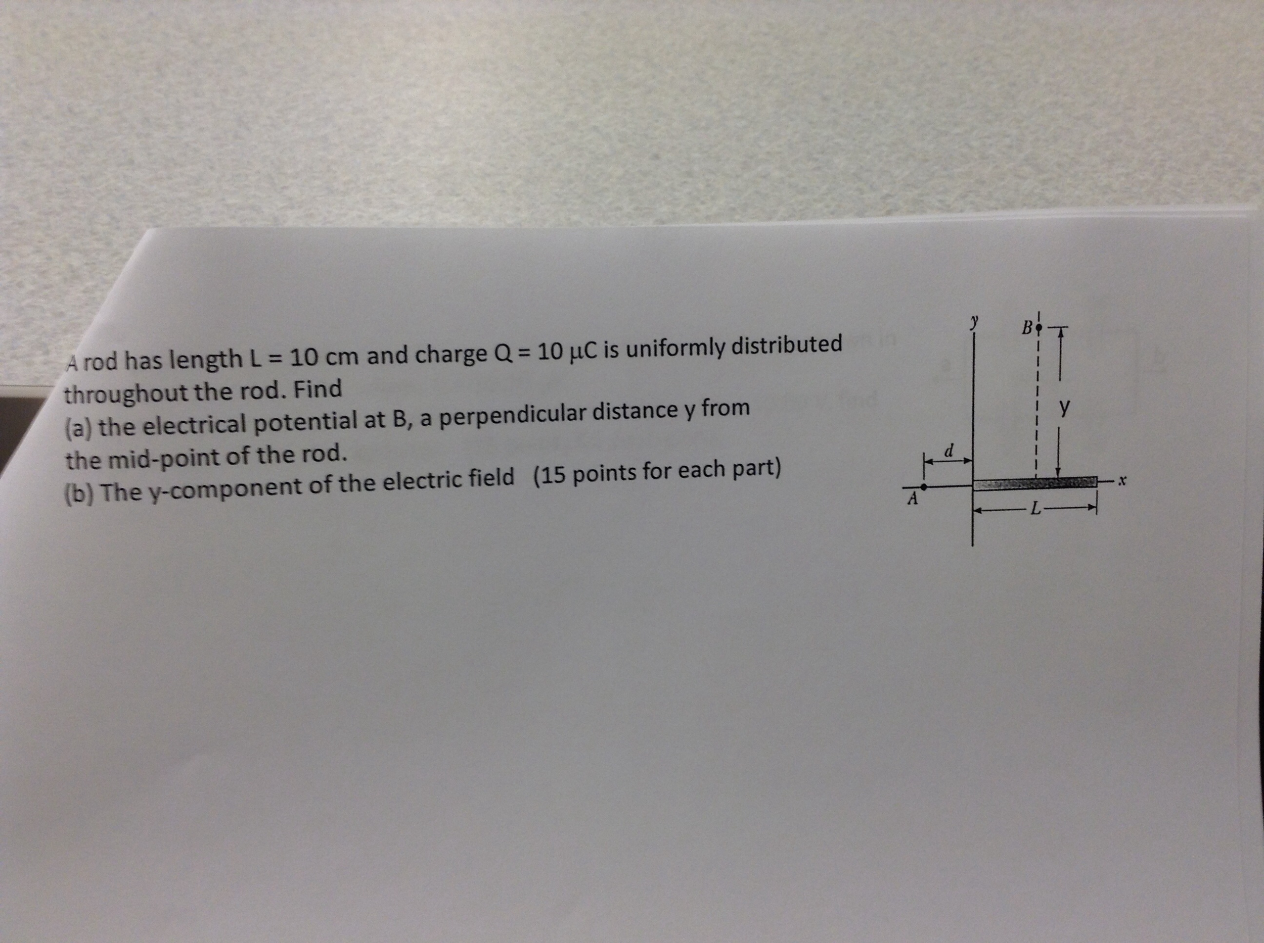 Physics archive july 15 2014 chegg a rod has length l 10 cm and charge q 10 muc is uniformly distributed throughout the rod find the electrical potential at b a perpendicular distance y pooptronica Images