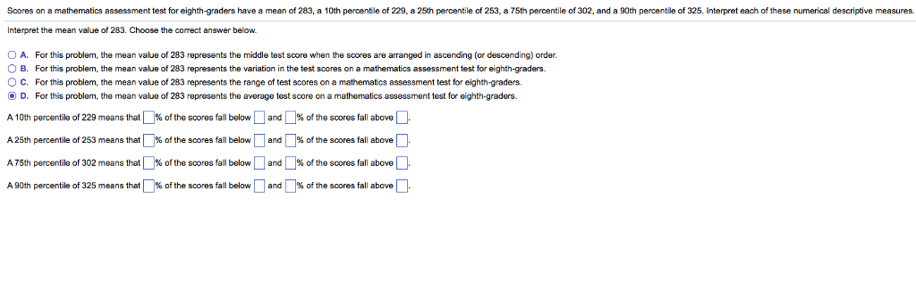Solved: Scores On A Mathematics Assessment Test For Eighth