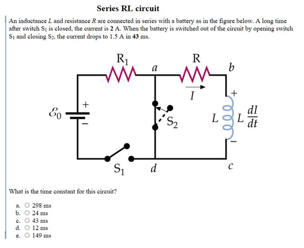 Solved An Inductance L And Resistance R Are Connected In Inductors Parallel Inductor Circuits