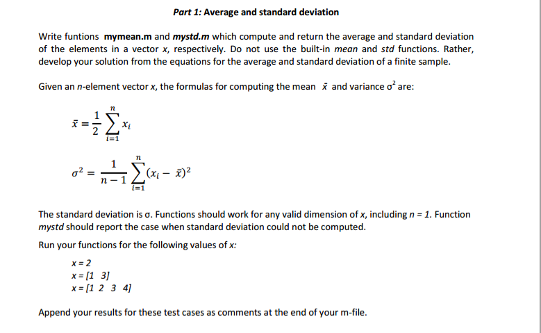 how to find standard deviation with mean and n