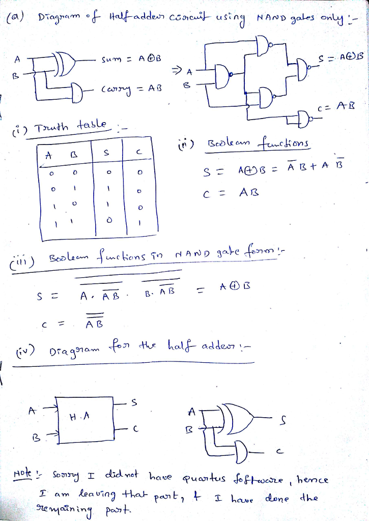 solved exercises draw the diagram of a half adder ha c 3 Input Nand Gate Truth Table expert answer
