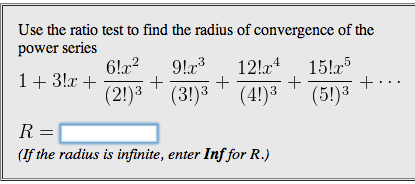 Solved: Use The Ratio Test To Find The Radius Of Convergen