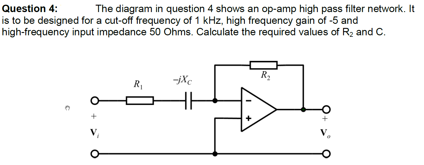 Solved The Diagram In Question 4 Shows An Op Amp High Pas Pass Filter Network It Is To Be Designed For A Cu