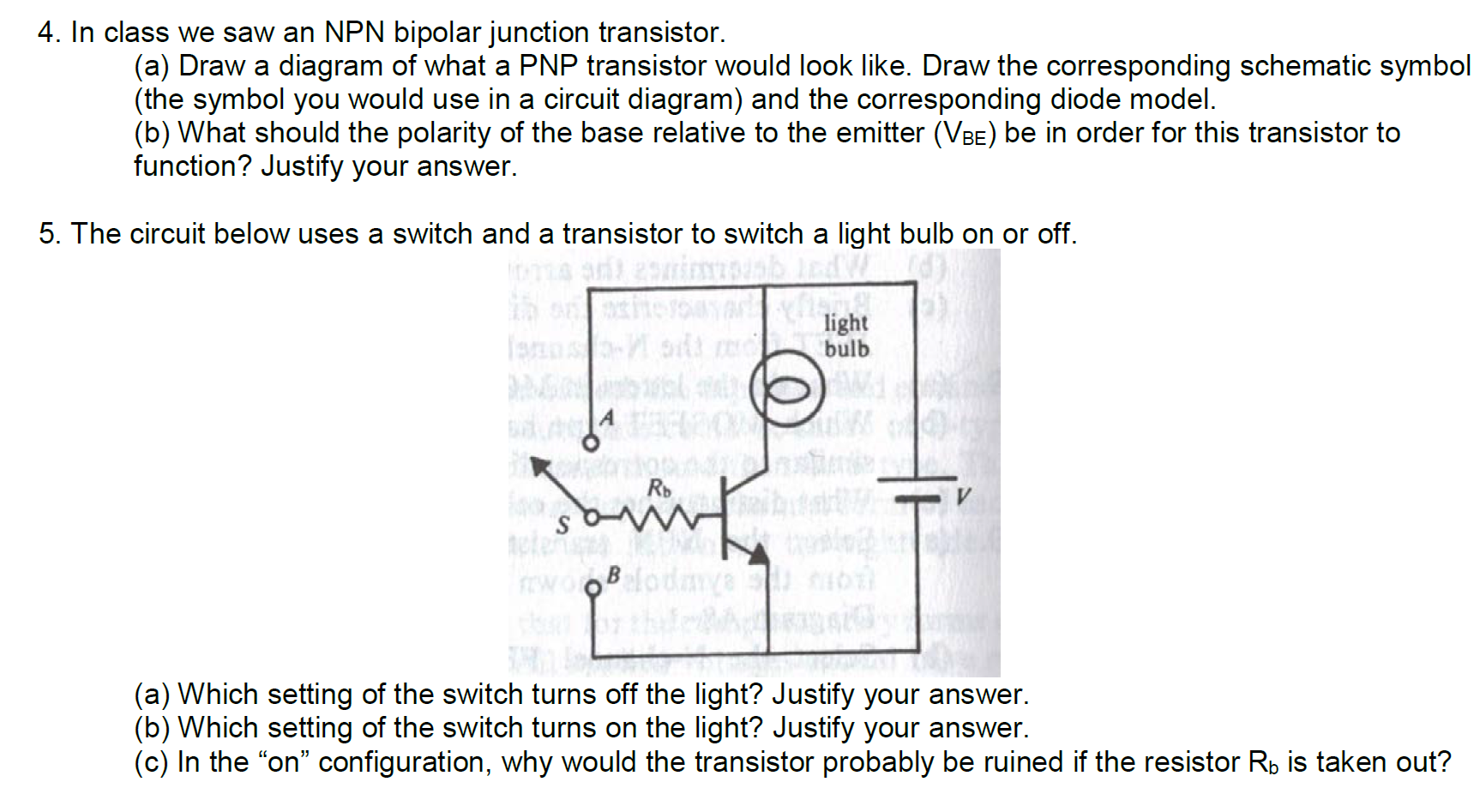 Terrific Solved In Class We Saw An Npn Bipolar Junction Transistor Wiring Digital Resources Bemuashebarightsorg