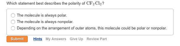 SOLVED:Determine whether each molecule is polar o…
