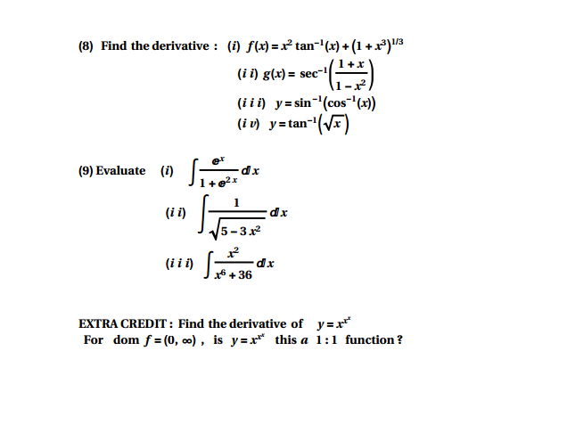 Solved Find The Derivative I Fx X2 Tan 1x 1