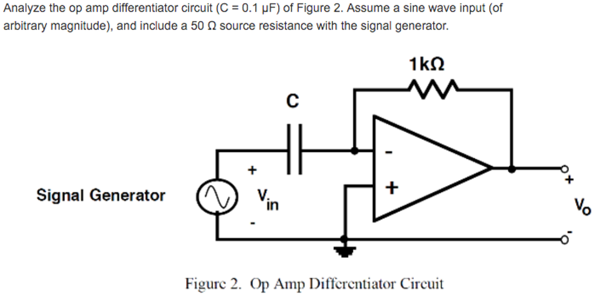 Solved Analyze The Op Amp Differentiator Circuit C 01 Pulse Generator Or Waveform F Of Figure 2