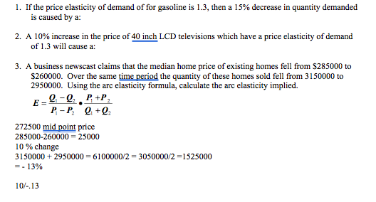 Solved I If The Price Elasticity Of Demand Of For Gasoli