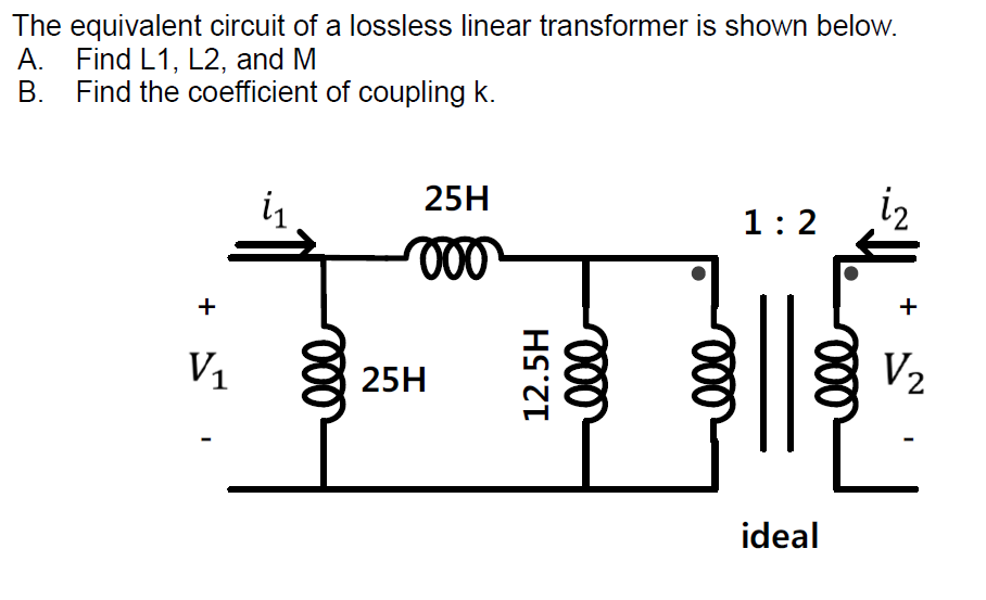 Solved: The Equivalent Circuit Of A Lossless Linear Transf ...