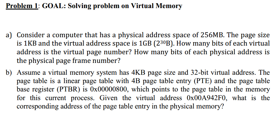 Solved: Problem 1: GOAL: Solving Problem On Virtual Memory