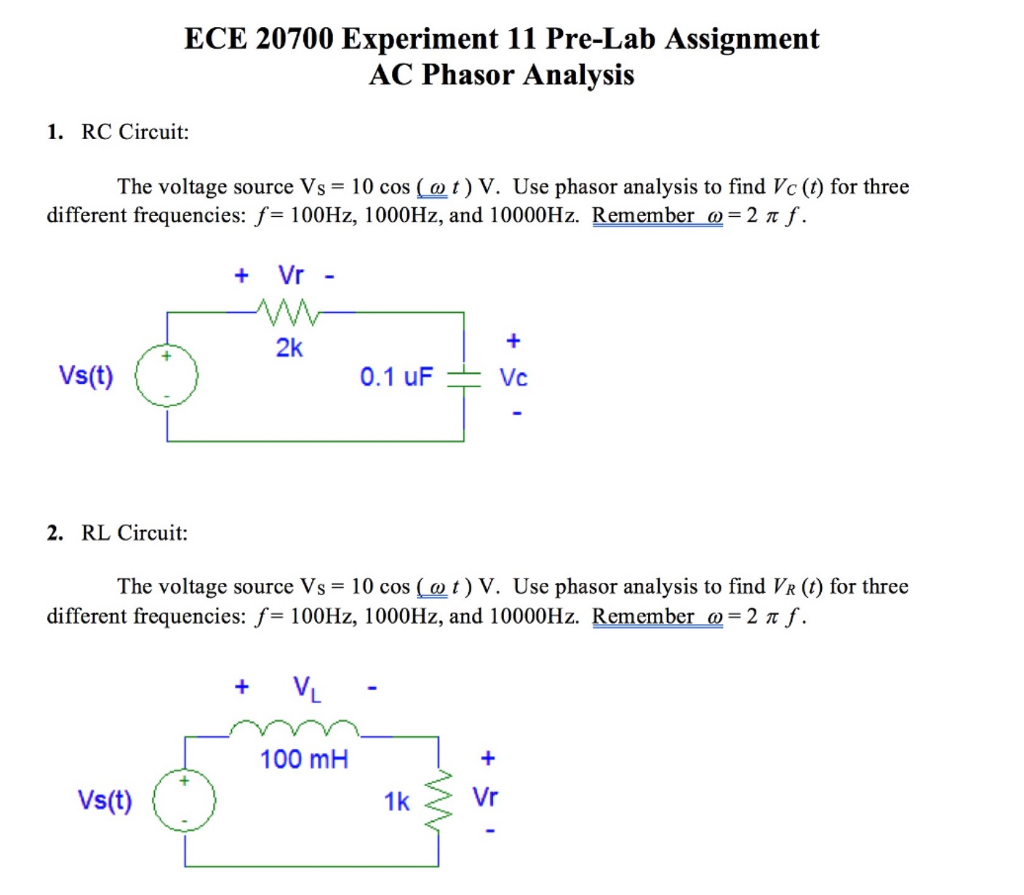 Solved Ece 20700 Experiment 11 Pre Lab Assignment Ac Phas Series Rc Or Rl Circuit Into An Equivalent Parallel Phasor Analvsis 1