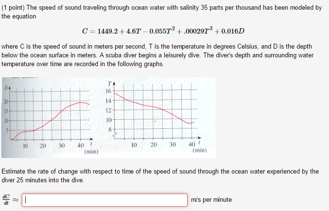 Solved: The Speed Of Sound Traveling Through Ocean Water W