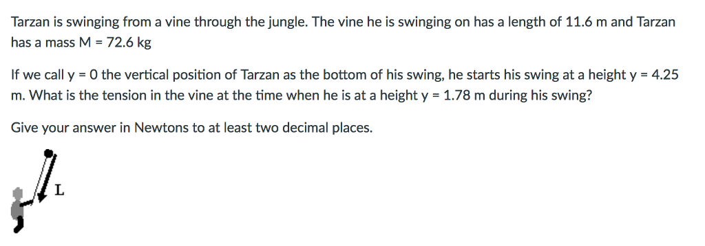 Solved: Tarzan Is Swinging From A Vine Through The Jungle